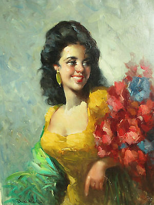 A Large Antique Oil on Canvas  Portrait Spanish Lady with Flowers Signed