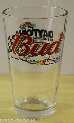 Budweiser Bud Beer Glass Nascar Daytona Speedway Pint Glass  Bud Light New