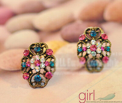 Fashion retro Vintage hollow out Colorful Rhinestone clover Flower Earrings Stud
