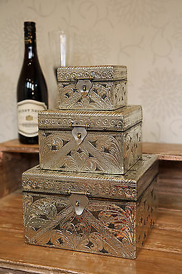 Set Of 3 Vintage Style Boxes Inlaid With Silver Hammered Metal Handmade Chest