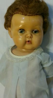 """TINY TEARS DOLL Vintage AMERICAN CHARACTER - 15"""" PAT NO 2.675.644 SQUEAKING"""