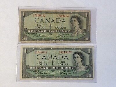1954 Bank of Canada 1 Dollar Note Scarce Very nice lot of (2)