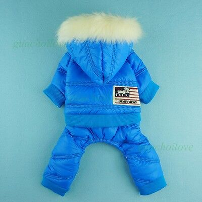 """12""""Chest Winter Warm Dog Coat XS Pet Clothes Puppy Hooded Jumpsuit Outfit Jacket"""