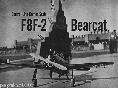 """Model Airplane Plans: F8F-2 BEARCAT 36"""" UC Navy Carrier / Scale for .60 Engine"""