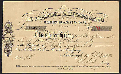 Scarborough Valley Bridge Company, Consolidated stock cert., 1867.