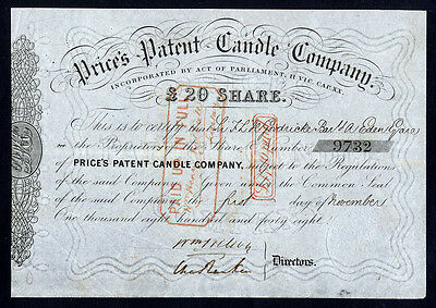 Prices's Patent Candle Company, £20 share, 1848.