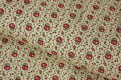Antique French UNUSED fabric floral stripe c 1900 material yellow red floral