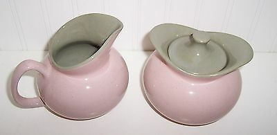 Vintage Harkerware Stone China Spackled Shell Pink /Gray Sugar & Creamer