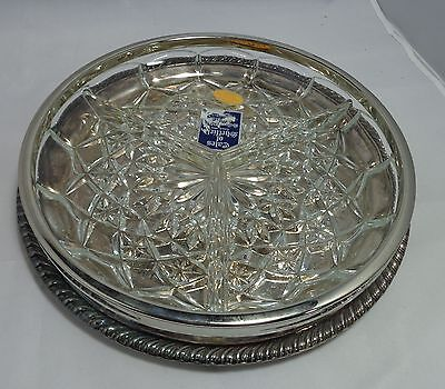 Tray WM Rogers star eagle w 3 Section English Crystal Glass Relish Dish Silverpl