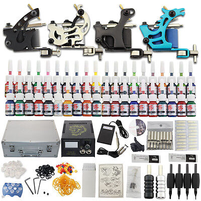 Complet Tattoo Kit de Tatouage Machine à Tatouer 40 Ink Power Supply Set DC02