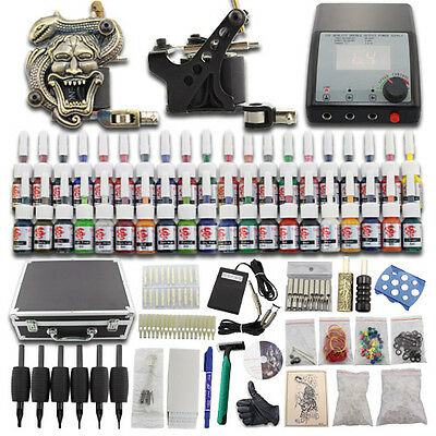 Professional Complete Tattoo Kit 2 Machine Gun Power Supply 40 Ink Needles DC06