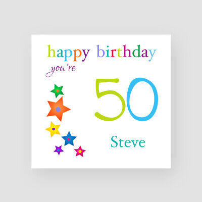 Personalised Handmade 50th Birthday Card - For Him, Son, Dad, Uncle, Stars