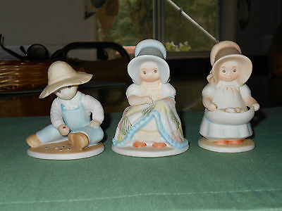 """3 Homco """"Circle of Friends"""" Masterpiece Figurine Quilting Rejoice Bounty Egg Boy"""