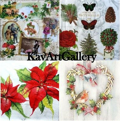 4 x  MIXED Vintage Table PAPER Napkins DECOUPAGE CRAFT CHRISTMAS 3 SCRAPBOOKING