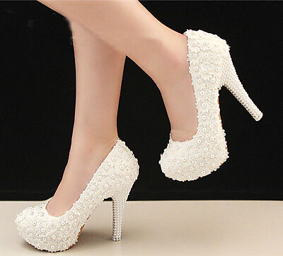 Royal Gorgeous Lace Handmade Pearl Rhinestone Wedding Banquet shoes High Heels