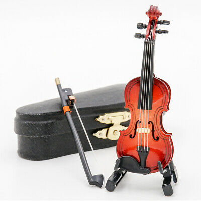 1:12 Violin Wooden Miniature Music Musical Instrument With Case&Holder Gift New