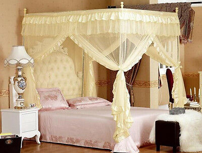 4 Corners Post Princess Bed Curtain Canopy Mosquito Net For Super King Bed Size