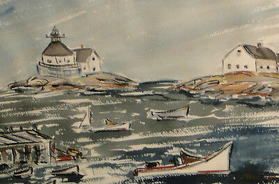 MID CENTURY MODERNIST WATERCOLOR  SEASCAPE  OF BOOTHBAY , MAINE