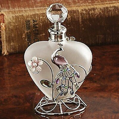 Glass Perfume Bottle with Crystal Peacock