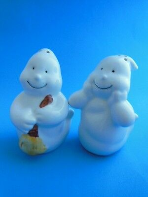 Halloween Ghost Salt & Pepper Shakers Ceramic Decorations 3.5""