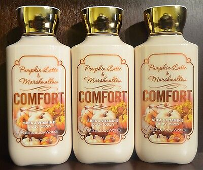 3 BATH & BODY WORKS COMFORT PUMPKIN LATTE MARSHMALLOW BODY LOTION CREAM LOT NEW