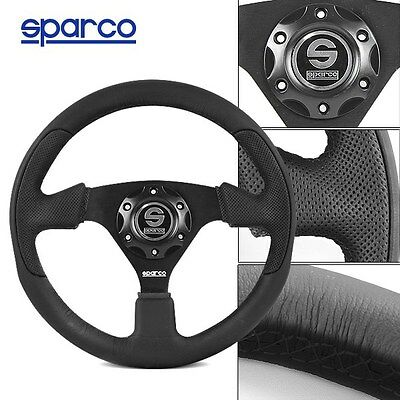 BRAND NEW 320MM Sparco Genuine Leather Sport Racing Steering Wheel w Horn