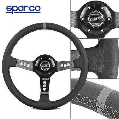 Deep Dish 340MM Sparco Black/Grey Leather Sport Racing Steering Wheel w Horn