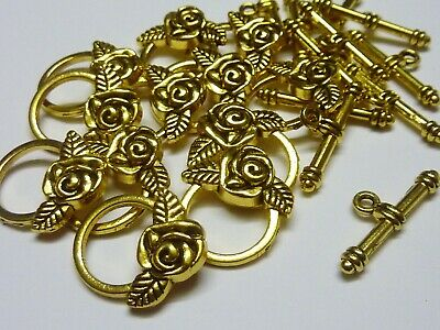 12 sets Rose Metal Toggle Clasps Gold Tone 10mm Jewellery Making