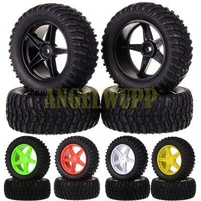 """4x RC 1:10 Off-Road Buggy Rally Monster 2.2"""" Wheel Rim & Tires Tyre 605-7007 HSP"""