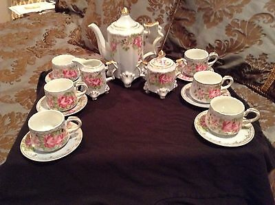 R S Germany 15 Piece Tea Set Powder Blue with Gold Accent