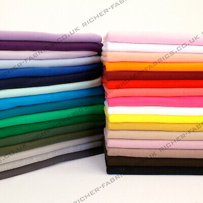 100% Knitted Jersey Cotton Stretch Interlock Fabric Material Made in UK FREE P&P