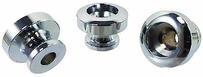3pc. Set of Chrome Guitar Strap Buttons, Great for New Work or Repair 31-10-01