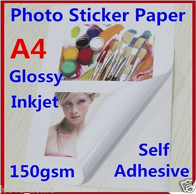 10X A4 150GSM Glossy Photo Paper Sticker Self Adhesive Inkjet Print Sheet Office