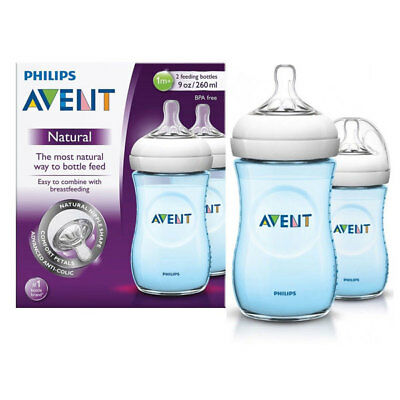 Philips Avent Natural Feeding Bottles Twin 2 Pack 260Ml Blue Baby Breastfeeding