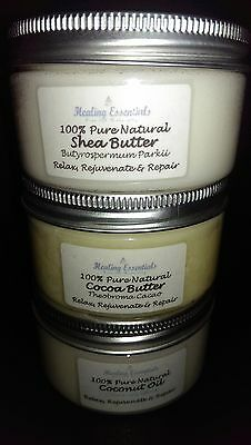 Coconut Oil, Shea & Cocoa Butter 100g Each - Pure Natural Quality Aromatherapy