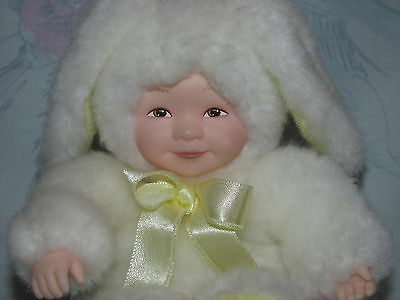 "Anne Geddes Rabbit Bunny Baby Doll - Small 5"" - Yellow Ribbon/Bow"