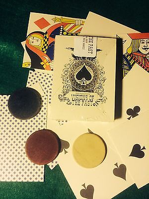Old West Playing Cards Reproduced for display1deck+3 antique clay poker chips
