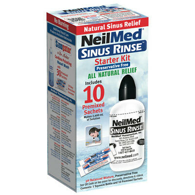 Neilmed Sinus Rinse Bottle Starter Kit Includes 10 Premixed Sachets All Natural