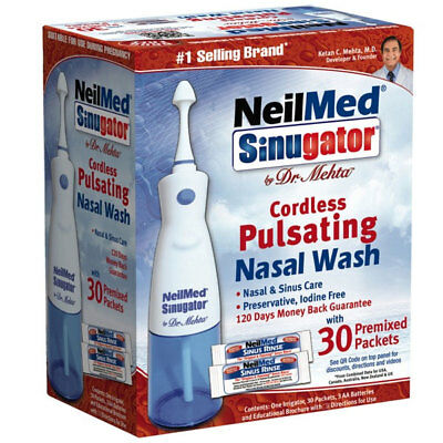 Best Price! Neilmed Sinugator For Cordless Pulsating Nasal Wash With 30 Sachets