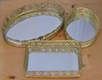 3 Vintage Retro Gold Filigree Glass Mirror Vanity Perfume Trays Oval Square