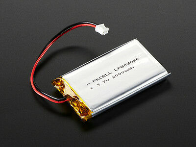 Lithium Ion Polymer 3.7v Rechargeable Battery 2000mAh Electronic Project Arduino