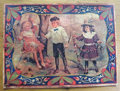 """LID PICTURE """"CHILDREN PLAYING  """"     5 3/8 X 3 15/16   4104  x"""