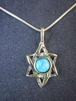 """Sterling Silver Star of David Opal Gemstone Pendant Necklace 18"""" 925 Box Chain"""