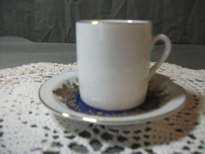 Lefton China small cup and saucer # 06968 -- 1988 white