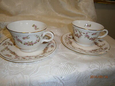 Edwin Knowles LORRAINE CUP & SAUCER (S) USA Pink Flowers Roses