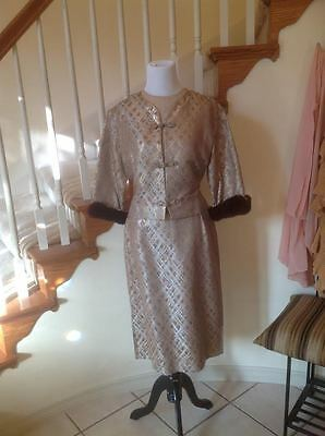 1950's wiggle maneater dress S M gorgeous fur jacket brocade 50s