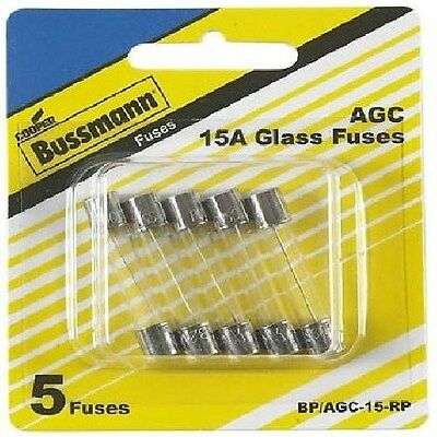 New Bussmann BP/AGC-15-RP 1/4in x1-1/4in Agc Glass Type Fuses (5) 15 Amp *