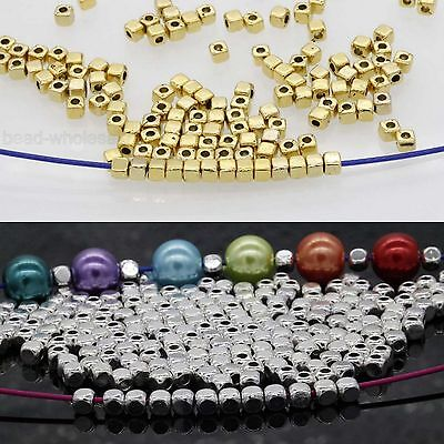 100/500Pcs Loose Cube Tibetan Silver Charm Spacer Beads Jewelry Findings 3.5*3mm