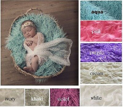 NEW Mongolian Curly Faux Fur Baby Blanket Stuffer Mat for Photography Photo Prop