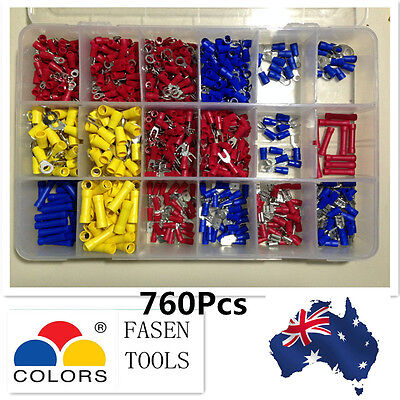 Electrical Wire Connector Insulated Crimp Terminals Spade Assorted Set 760Pcs
